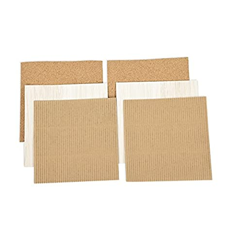 Spellbinders Platine en liège/en carton ondulé/Balsa bois feuille, Mixte, brun, Lot de 5
