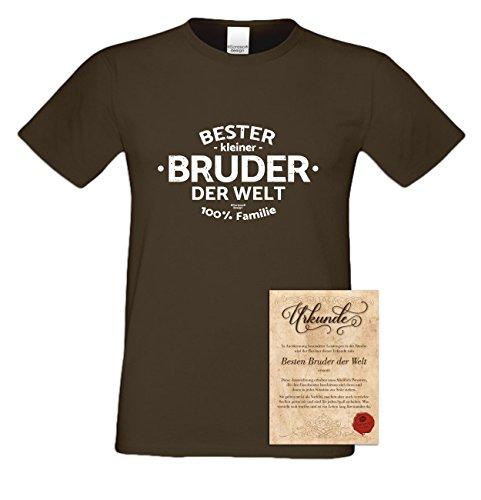 Geburtstagsgeschenk Bruder :-: Herren T-Shirt als Geschenkidee :-: Bester kleiner Bruder der Welt :-: Übergrößen 3XL 4XL 5XL :-: Geschenk zum Geburtstag Geschwister Farbe: braun Braun