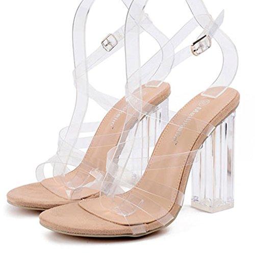 0ce72c9edc4b95 ... Oasap Damen Transparent Cross-Riemen Offen High Heels Sandalen Apricot
