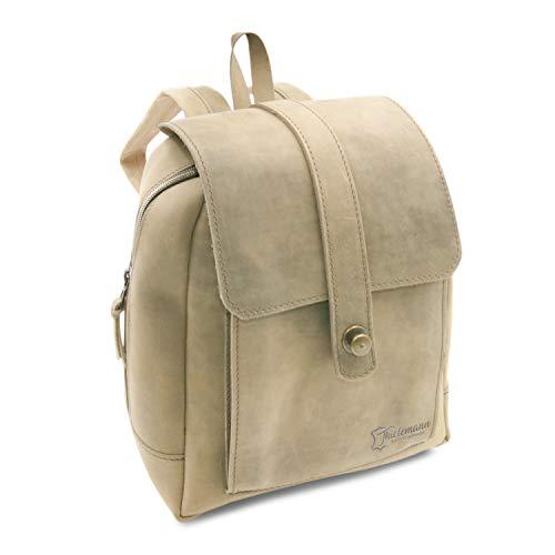 Made in Germany Day Bag - Damen Rucksack Sofia im Vintage-Style aus braunem Leder inkl. Bio-Lederpflege von THIELEMANN