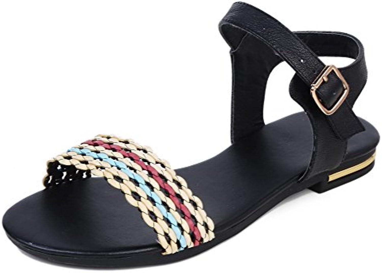 AgooLar Mujeres Puntera Abierta Mini Tacón Colores Surtidos Sandalias de Vestir