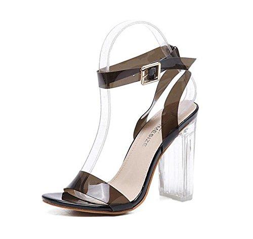 GLTER Cinturino di donne pompe di estate di nuovo con i tacchi alti sandali trasparenti tacco scarpe grosse Charme europei ed americani di tre colori scarpe di cristallo Black