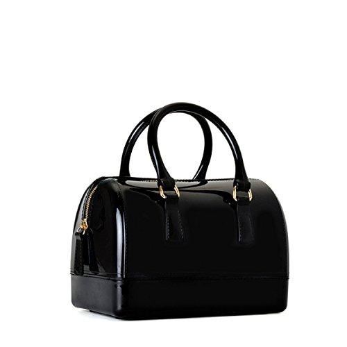 Medium Boston Handtasche (Schwarz Handtasche Messenger Boston Tasche Europa Und Den Vereinigten Staaten Mode Handtaschen Medium Umhängetasche Kissen Geleebeutel,Black-OneSize)