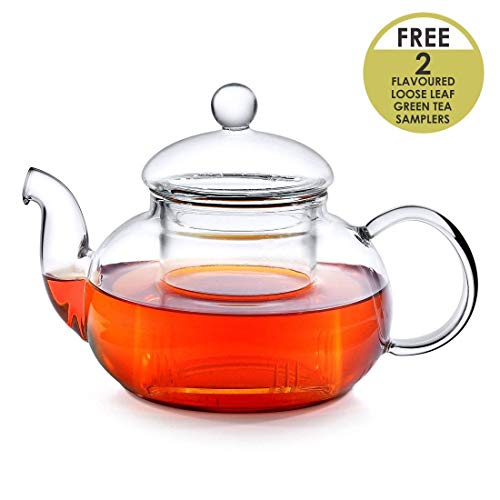 Octavius Borosilicate Glass Teapot/Kettle with Heat Resistant Removable Glass Infuser - 600 ml   Free Samplers of 2 Green Tea Variants