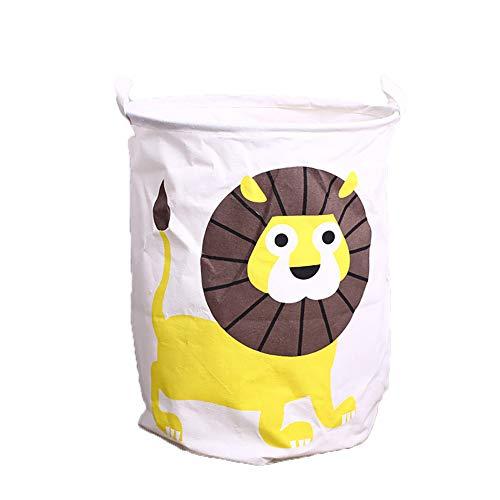 Sungpunet Wäschesack, strapazierfähig, Leinen, Aufbewahrungskorb für Kleidung, Kleiderschrank, Kleiderschrank, Aufbewahrungsbeutel (Löwen)