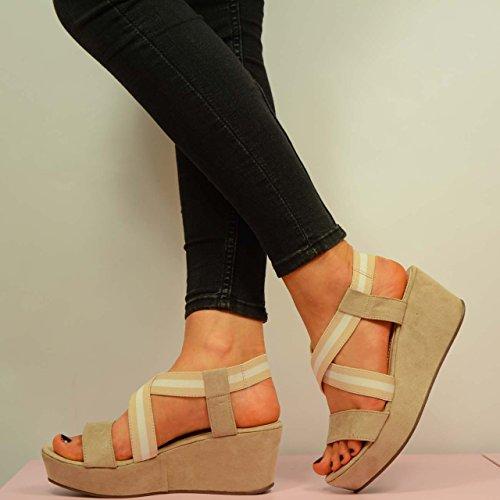 Cucu Fashion , Sandales Plateforme femme Beige - beige