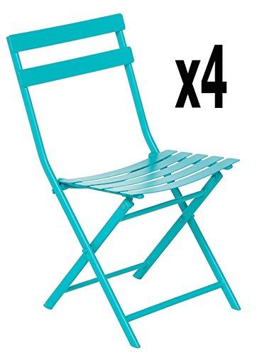 Lot de 4 chaises de jardin Lucie lagon - Dim : H 80 x L 52 x P 42 cm -PEGANE-