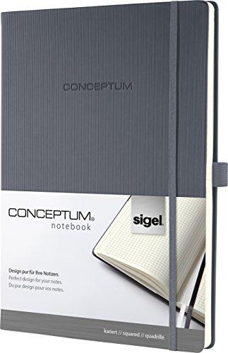 Sigel CO648 Notizbuch, ca. A4, kariert, Hardcover, dunkelgrau, 194 Seiten, CONCEPTUM - weitere Modelle