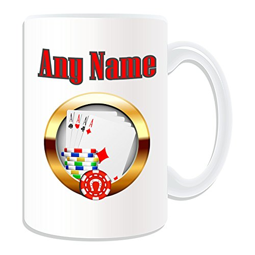 Personalised-Gift-Large-Cards-and-Chips-Baccarat-Blackjack-Texas-Holdem-Mug-Casino-Design-Theme-White-Any-Name-Message-on-Your-Unique-Hold-em-Poker-Chip