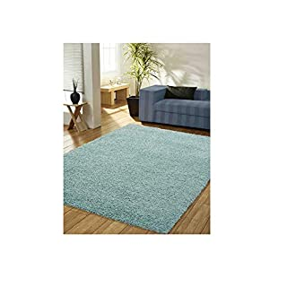 AQS INTERNATIONAL Super Soft Shaggy Thick Plain Luxury Pile Modern Rug Non Shed 5cm Thick Pile Modern Area Rugs Non Shed Home Office Decorative (Duck Egg Blue, 160x230cm (5'3