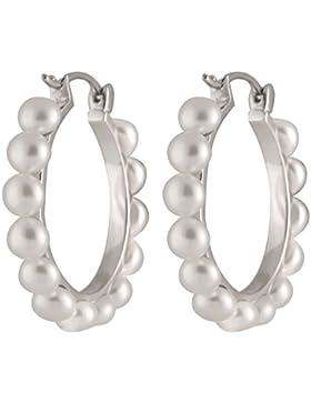 Bella Pearls Ohrringe 925 Sterlingsilber Rundschliff Halbrund China-Zuchtperle weiß Perle