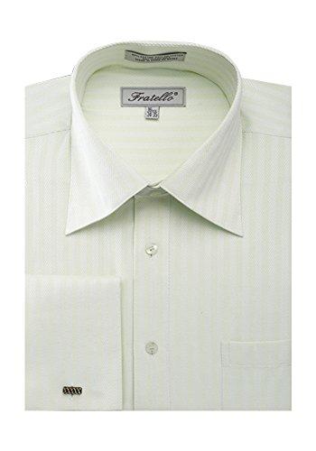 Sunrise Outlet Men's Herringbone French Cuff Shirt Ivory