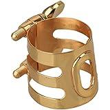 yibuy ton doré plaqué or cuivre Embouchure pour saxophone alto Ligature Durable rond