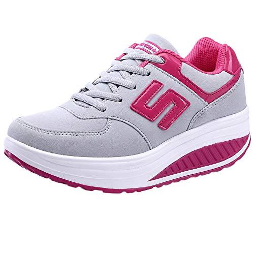 Dragon868 scarpe donna pelle, sneakers plateau 4.5cm lace-up sportive scarpe a zeppa scarpe comode per camminare 35-40