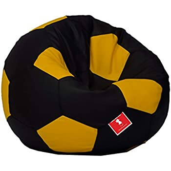 Comfy Bean Bags Football XXL Bag Filled With Beans Filler Black And Yellow