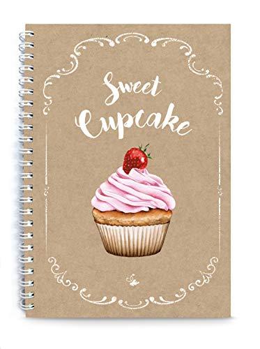 Rezeptbuch zum Selberschreiben BACKBUCH SWEET CUPCAKE ORIGINAL KRAFTPAPIER Muffin Cupcake Topping Erdbeere • liniert DIN A5 Spiralgebunden • INHALTSVERZEICHNIS & SEITENNUMMERIERUNG DESIGN BY fioniony®