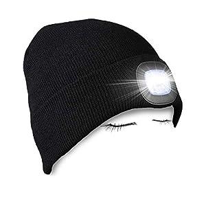 PRAVETTE Strickmütze mit Licht, Unisex-Winterwärmer-Strickkappe, USB Nachladbare LED Mütze Hut, Hands Free Scheinwerfer…