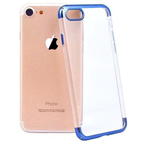 Yokata iPhone 7 Plus Hülle Transparent Premium Hart PC Schale Ultra Dünn Slim Crystal Clear Case mit Galvanik Rahmen harte Schutzhülle Anti-Kratzer Durchsichtig Protective Cover für iPhone 7 Plus (5,5 Sapphire Blau