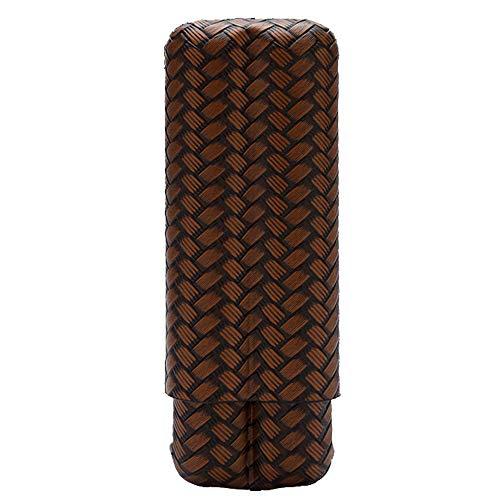 Lubinski Zigarrenetui für 2 Finger, Leder, für Reisen, Zigarren, Geschenkset, verpackt in schöner Geschenkbox Bronze