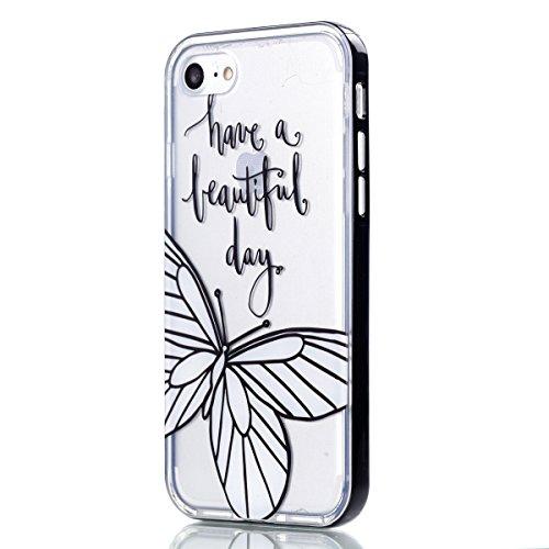 Apple iPhone 8 4.7 Hülle, Voguecase Schutzhülle / Case / Cover / Hülle / 2 in 1 TPU Gel Skin (lächelndes Gesicht 02) + Gratis Universal Eingabestift weißer Schmetterling 02