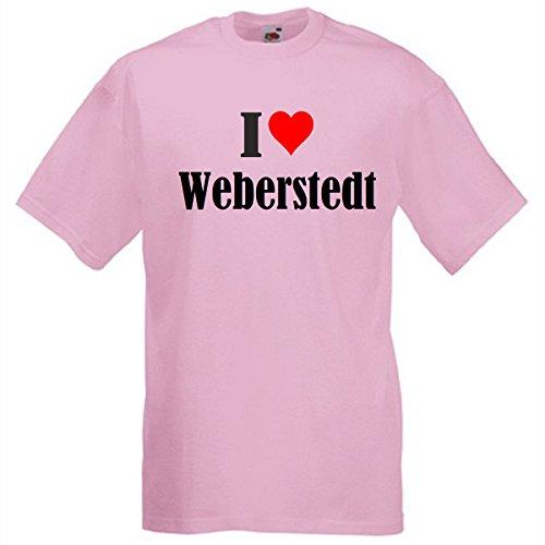 """T-Shirt """"I Love Weberstedt"""" für Damen Herren und Kinder in Pink Pink"""