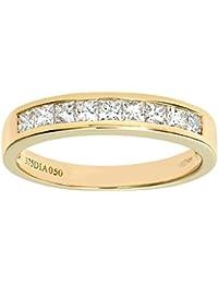 Naava Women's 9 ct White Gold 0.50 ct Princess Cut Diamond Channel Set Half Eternity Ring