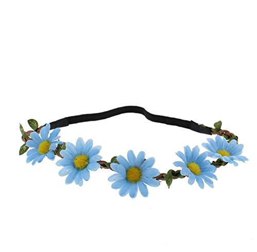 Bandeau élastique Zac's Alter Ego à fleurs pour les mariages, festivals, déguisement - Bleu -