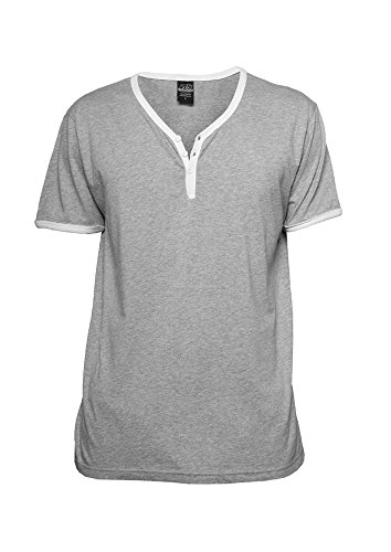 Contrast Henley Y-Neck Tee wht/gry XL gry/wht
