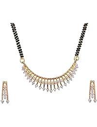 Ziyaan Fashion American Diamond Gold Plated Mangalsutra Set For Women/Mangalsutra For Women Latest Design