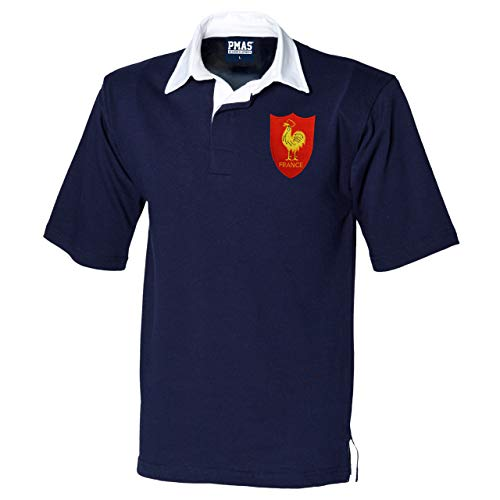 Traditionelles kurzärmeliges Frankreich-Rugby-Shirt für Herren in Marineblau/Weiß, Stickerei-Logo zeigt den französischen Hahn, von Print Me A Shirt Gr. L/ 102 cm- 107 cm, NAVY-AND-WHITE