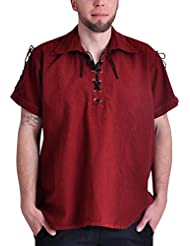 Chemise de pirate médiéval manches courtes cordelette coton rouge