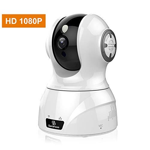 Cámara Vigilancia, Sararoom Cámara IP WIFI 1080P Vigilabebés con Detección de Movimiento, Audio Bidireccional, Visión Nocturna, Control de Aplicaciones Móviles Compatible con iOS, Android