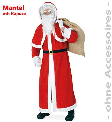 Nikolausmantel mit Kapuze und Kordel, Weihnachtsmann, Väterchen Frost, Plüsch, rot-weiß, (Jesus Kinder Kostüme)
