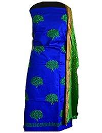 KATHIWALAS Women's Cotton Silk Kutch Work Bandhani/Bandhej Unstitched Dress Material Suit (Blue Parrot, Free Size)