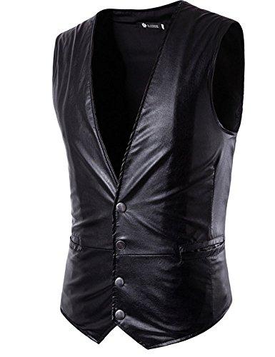 Idopy Vestito di cuoio del Faux del vestito sottile da uomo degli uomini vestito di affari vestito senza maniche Gilet del rivestimento Nero