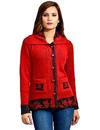 Pipasa Women Girls Ladies Woollen Buttoned High Neck Collar Printed Coat Cardigan for Winters