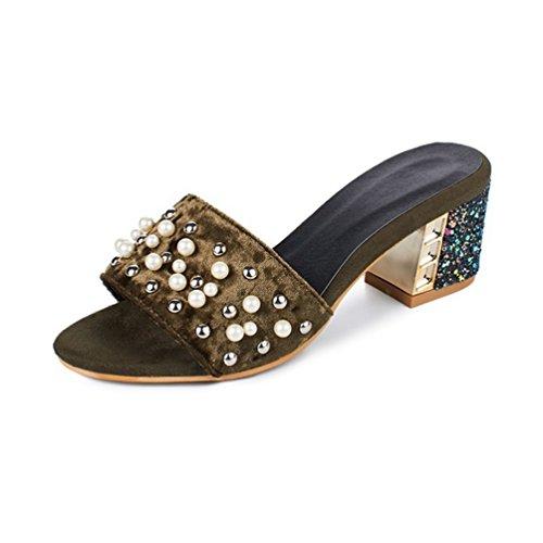 Mode Perle Block Heel Slide Sandalen für Frauen Offene Spitze Plattform Sparkly Ferse Kleid Keile ()