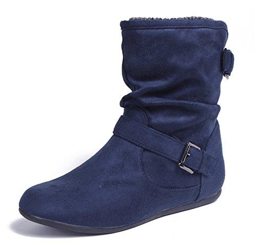 AgeeMi Shoes Damen Schnalle Rund Schließen Zehe Flache Halbschaft Stiefel,EuX33 Marine 36 (Wildleder Faux Schnalle)