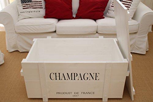 Uncle Joe´s Truhe Champagne Couchtisch Truhentisch im Vintage Shabby chic Style aus Massiv-Holz in Weiss mit Stauraum und Deckel Holzkiste Beistelltisch Landhaus Wohnzimmertisch Holztisch weiß - 4