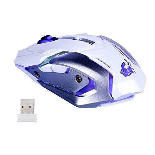 Lanker Drahtlose Wiederaufladbare Gaming-Maus - USB Optische MäUse Mit Ruhe Klicken, 3 Einstellbare DPI, 6 Tasten, 7 Wechselnde Atmung Hintergrundbeleuchtung - GM07 Weiß
