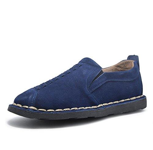 Heart&M retrò casual maschile tondo mocassini toe in pelle scamosciata pelle scarpe deep blue