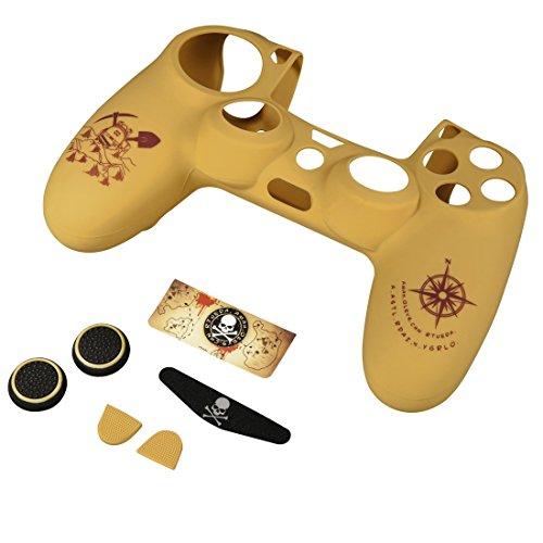 Hama 7-in-1 Zubehör Set (für PS4/PS4 Slim/PS4 Pro Adventure, für Dualshock 4 Controller, Skin Silikonhülle, Stick-Aufsätze, Touchpad Schutzfolie, Lightbar Sticker, Uncharted Motiv) custom beige -