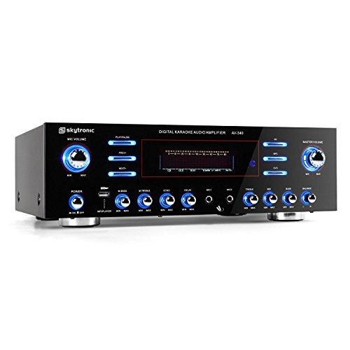 Skytronic 103.212 AV-340 Ampli Hifi karaoke (USB, MP3, PA 2 x 180W RMS / 3 x 50W RMS, 5 canaux audio surround et stéréo, 2 entrées micro, effets LED)