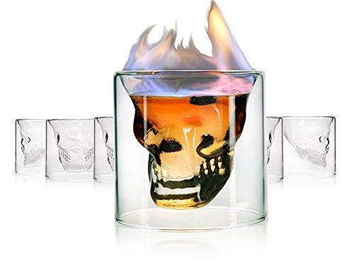 Sänger Totenkopf Schnapsglas 6er Set im Skull Design | Shots aus extravaganten Schädel Gläsern genießen | Füllmenge Pinnchen 80 ml