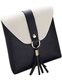 LQZ Small Casual PU Leather Tassel Handbag Sling Bag For Mobile Phone