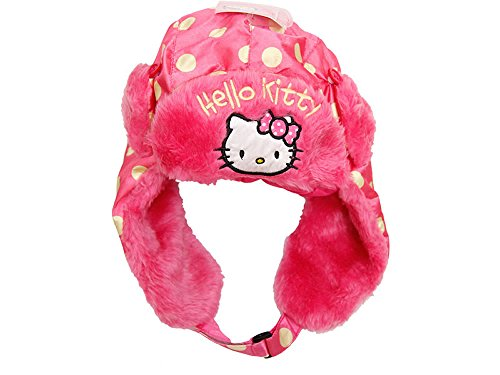 Sanrio Hello Kitty Plüsch Haube pink/Gold Gr. 52 + 54 (52) (Fell Kitty Mütze Hello)