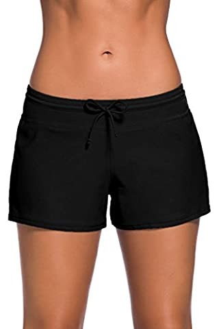 Dokotoo Women's Swimsuit Bottoms Solid Stretch Summer Boardshorts Swimming Shorts Medium Black