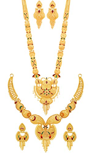 Mansiyaorange Combo of Two Party One Gram Gold Forming Long Haram and Choker Multi Color Jewellery Necklace/Juelry/jwelry Set Jewellery for Women