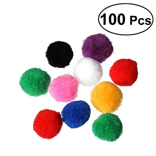 UEETEK 100pcs 4cm sortierte Pom Poms-Kätzchen-Spielwaren-flaumige Bälle für DIY kreative Handwerk-Dekorationen (Mischungs-Farbe)