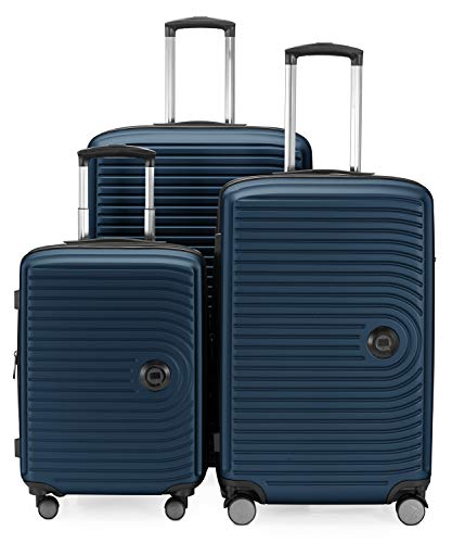HAUPTSTADTKOFFER - Mitte - Bagaglio a mano, Trolley rigido con estensione di 8 cm per aumentarne il volume, TSA, 4 ruote doppie gommate, 55 cm, 55 L, Blu scuro